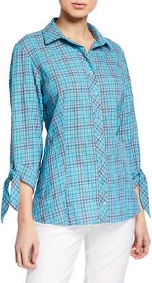 Finley Jackie Bermuda-Plaid Tie-Sleeve Shirt