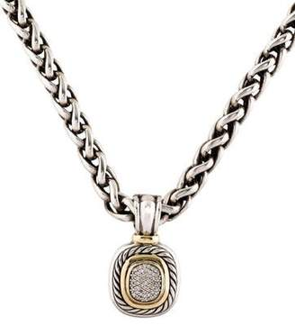 David Yurman Large Diamond Albion Enhancer & Wheat Chain Necklace