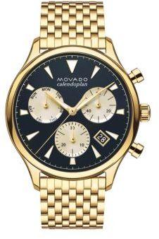 Movado Heritage Calendoplan Goldtone Stainless Steel Bracelet Watch $1,095 thestylecure.com