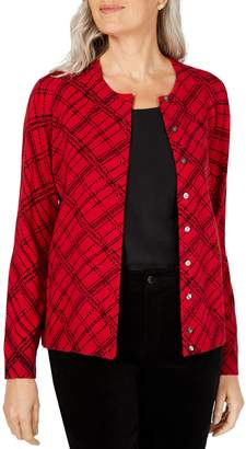 Karen Scott Plaid Button-Down Cardigan