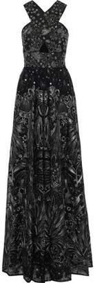 Marchesa Cutout Metallic Embellished Tulle Gown