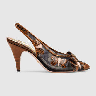 Gucci Snakeskin butterflies mid-heel slingback pump
