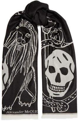 Alexander McQueen Fringed Printed Wool Scarf - Black