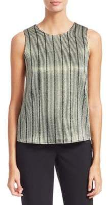 Emporio Armani Multistripe Lurex-Knit Sleeveless Blouse