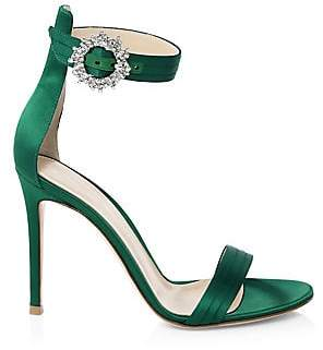 Gianvito Rossi Women's Embellished Satin Ankle-Strap Sandals