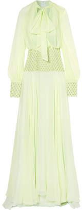 Monique Lhuillier Embellished Silk-chiffon Gown - Mint