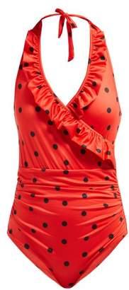 Ganni Rosedale Polka Dot Swimsuit - Womens - Red Print