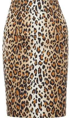 Carolina Herrera Leopard-Print Stretch-Cotton Twill Pencil Skirt