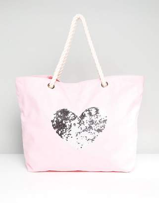 South Beach Blush Washed Cotton Beach Bag With Sequin Heart