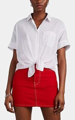 Rag & Bone Women's Lenny Swiss-Dot Cotton-Blend Tie-Front Top - White