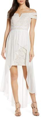 Morgan & Co. Off the Shoulder Lace & Chiffon Overlay Gown