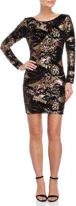 Dress the Population Bronze-Tone Lola Sequin Pattern Dress
