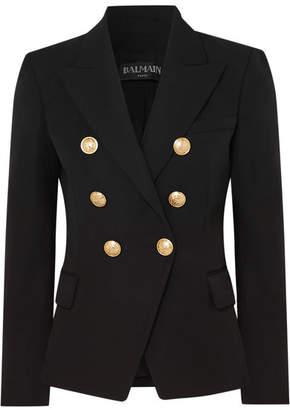 Balmain Double-breasted Grain De Poudre Wool Blazer - Black