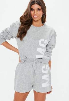 Missguided Grey MG Cycling Short Co Ord Set, Grey