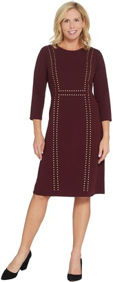 Dennis Basso Luxe Crepe Fit-and-Flare Dress with Stud Trim