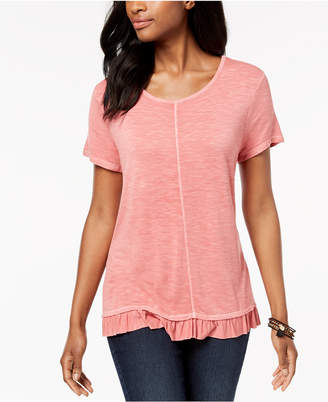Style&Co. Style & Co Ruffle-Hem T-Shirt, Created for Macy's