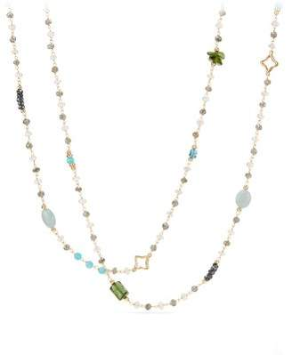 David Yurman Long Bead And Chain Necklace With Malachite, Aquamarine