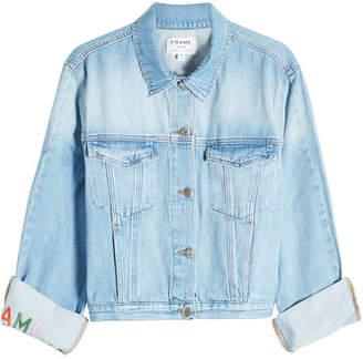 Frame Embroidered Cuff Denim Jacket