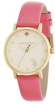 Kate Spade New York Novelty Metro Happy Hour Enamel, Goldtone Stainless Steel & Leather Strap Watch $175 thestylecure.com
