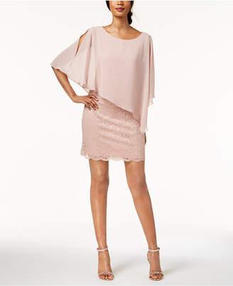 Connected Plus Size Lace & Chiffon Caplet Dress