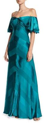 Zac Posen Off-the-Shoulder Draped-Sleeve Tonal-Striped Satin Evening Gown