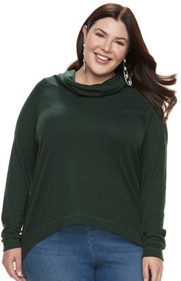 Laundry by Shelli Segal Plus Size French High-Low Cowlneck Sweater