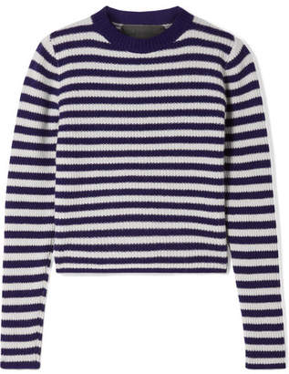 The Elder Statesman Striped Ribbed Cashmere Sweater - Dark purple