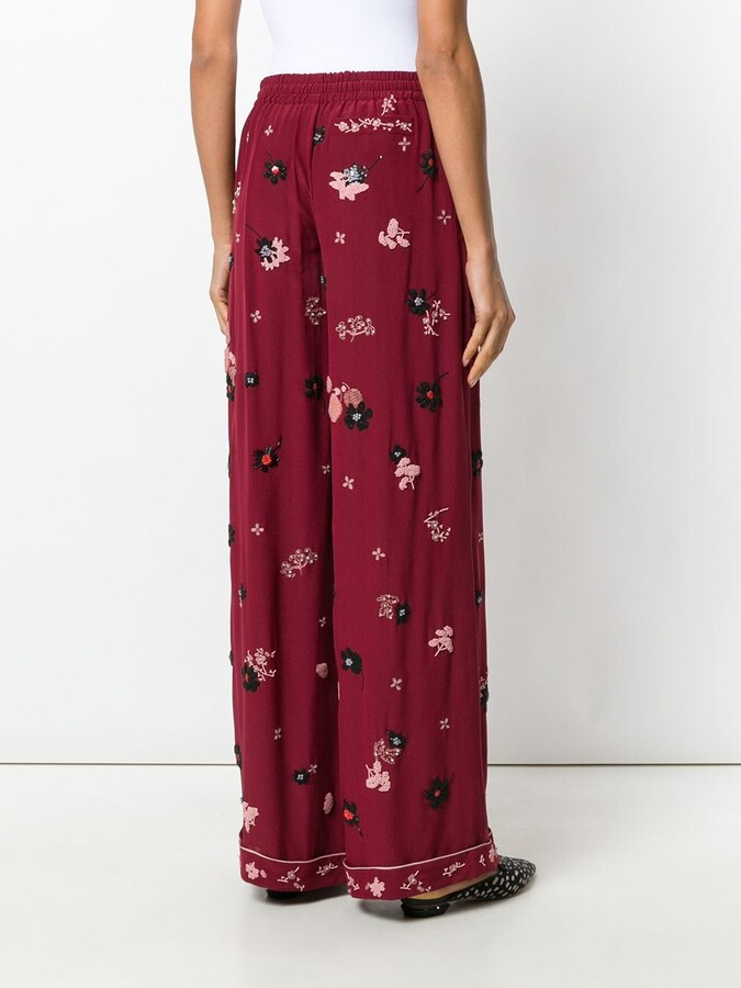 Valentino floral embroidered palazzo pants