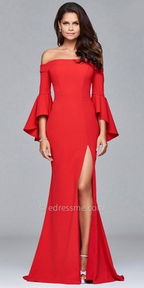 Faviana Off the Shoulder Bell Sleeve Prom Dress $338 thestylecure.com