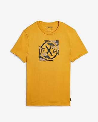 Express Exp Cross Camo Logo Crew Neck Graphic Tee