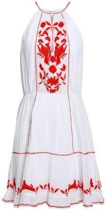 Joie Embroidered Cotton-gauze Mini Dress