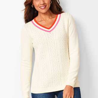 Talbots Pointelle V-Neck Sweater