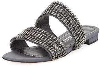 Manolo Blahnik Bulgocri Satin/Crystal Flat Slide Sandal