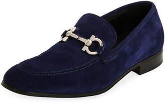 Salvatore Ferragamo Men's Suede Gancini Loafer, Ultra Blue