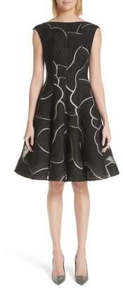 Talbot Runhof Petal Contour Silk Blend Jacquard Dress