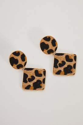 Quiz Gold Leopard Statement Earrings