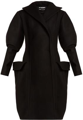 Oversized-pocket double-breasted wool coat