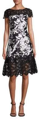 Theia Floral Jacquard A-line Dress