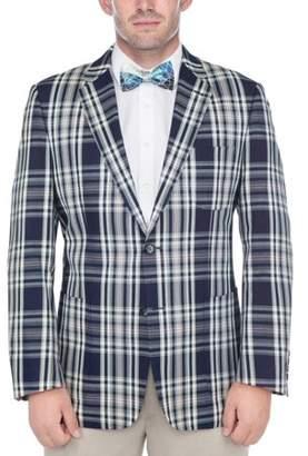 Verno Big Men's Navy Blue and White Madras Plaid 100-percent Cotton Classic Sports Coat