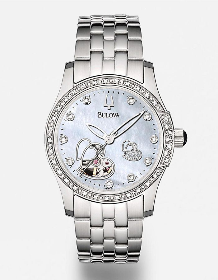 BULOVA Women's Heart-Detailed Diamond & Mother-of-Pearl Dial Stainless Steel Watch