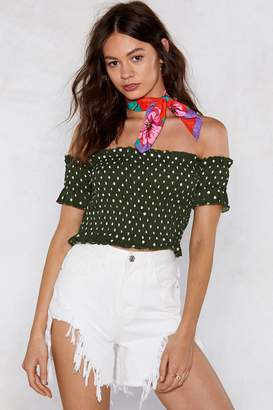 Nasty Gal Come Over Shirred Baby Off-the-Shoulder Top