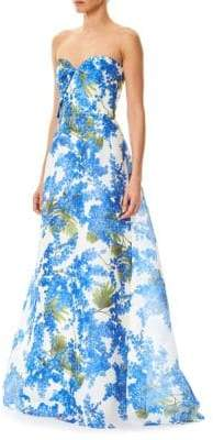 Carolina Herrera Floral-Print Organza Gown