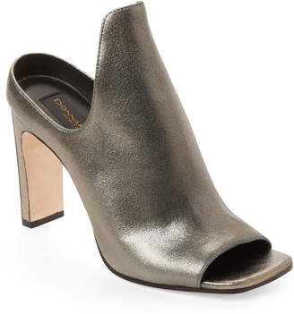 Donna Karan Light Pewter Peep-Toe Sutton Mules