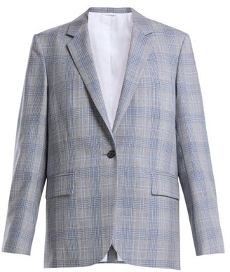 Calvin Klein Windowpane Check Wool Blazer - Womens - Blue Multi