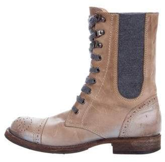 Brunello Cucinelli Leather Lace-Up Ankle Boots Brown Leather Lace-Up Ankle Boots