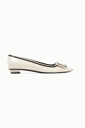 Roger Vivier Belle Vivier Graphic Patent-trimmed Leather Flats - Off-white