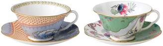 Wedgwood Butterfly Bloom Teacup & Saucer, Set of 2: Blue Peony & Butterfly Posy