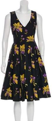 Prada Floral Print Pleated Dress