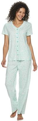 Croft & Barrow Petite Button-Front Pajama Shirt & Sleep Pants Set