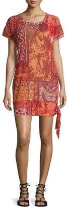Fuzzi Mosaic Lace-Print Coverup Tunic $280 thestylecure.com